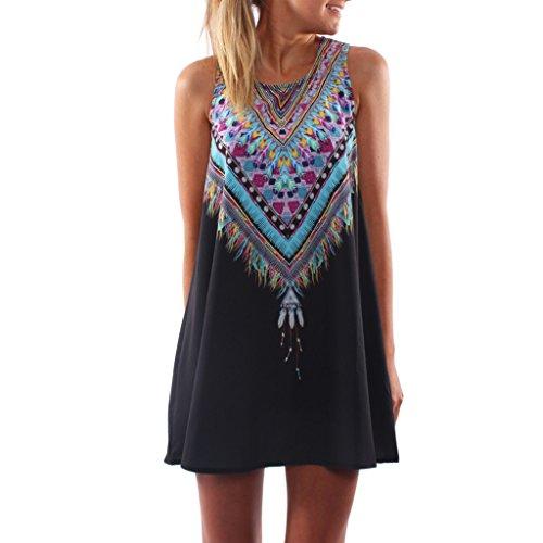 Women Summer Beach Mini Dress Round Neck Sleeveless Floral Loose Dress Casual