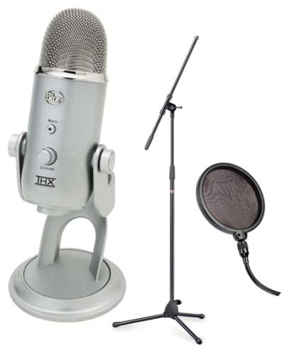 Blue Microphones Yeti USB Microphone Bundle with Boom Microphone Stand and Pop Filter