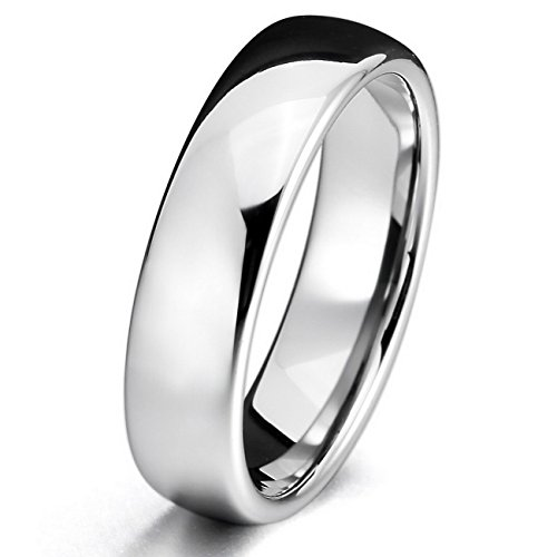 Silver 6mm Tungsten ring Band Comfort Fit Wedding Engagement Promise Polished Size 10