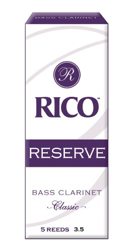 Rico Reserve Classic Bass Clarinet Reeds, Strength 3.5, 5-Pack
