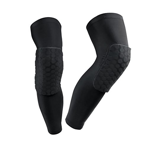 FakeFace A Pair Professional Compression Crashproof Hexpad Antislip Knee Shin Long Sleeves Sports Basketball Kneepads Honeycomb Knee Pads Leg Brace Sleeve Protective Pad Support Guard Protector Gear (Arm Leg Sun Protection compare prices)