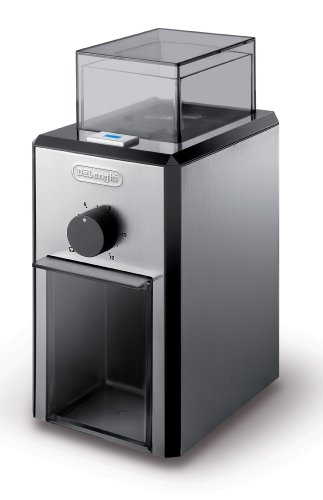DeLonghi Stainless Steel Burr Coffee Grinder with Grind Selector and Quantity Control