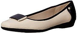 Anne Klein Sport Women\'s Udaya Fabric Ballet Flat, Ivory, 7.5 M US