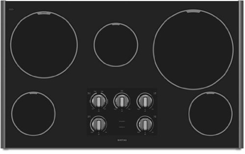Maytag MEC7536WS 36″ Smoothtop Electric Cooktop with 5 Radiant Elements, 3,200 Watt Speed Heat Element, 12″ XL Power Cook Element, Glass Ceramic Surface and Dishwasher Safe Control Knobs: Stainless Steel
