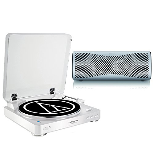 Audio-Technica-Turntable-and-KEF-MUO-White-Bluetooth-Speaker-ATLP60BTWH