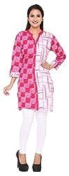 M&F Women's Cotton Straight Kurta (Madhavan&Fashions123--M, Medium, Pink)