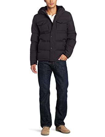 Levi's Men's Herringbone 2 Pocket Hooded Puffer Jacket, Charcoal, Large
