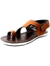 Shoegaro Tan And Brown Suede Men Sandals