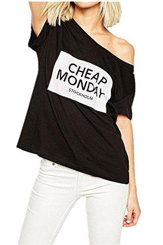 Sexy Scollo Bardot Cheap Monday Letter Print Graphic Grafica Scritta Logo Slogan Maglietta T-Shirt Tee Superiore Top Nero L