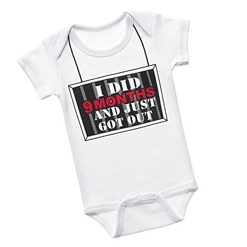 Baby Romper Bodysuit ~ I Did 9 Months and Just Got Out, 0-6 Months
