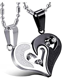 Ariettejewels Stainless Steel Heart Shaped Pendant Chain For Couple