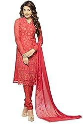 Matindra Enterprise Buy Latest Karachi Work Red Chiffone Dress materials