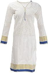 AKS Lucknow Women's Regular Fit Kurti (TK-18_42, WHITE , 42)