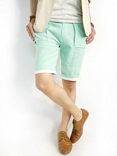 (モノマート) MONO-MART 綿麻 リネン ショートパンツ 折り返し チノ ショーツ デザイナーズ ショーパン 膝丈 ロールアップ 夏 カラー 短パン メンズ ミントグリーン Mサイズ