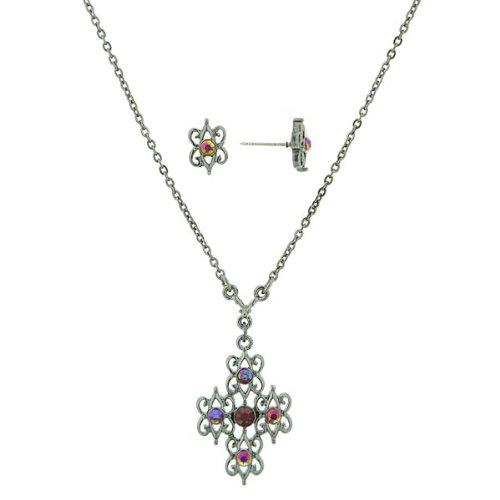 Ruby Hues Filigree Cross Necklace & Earrings Set