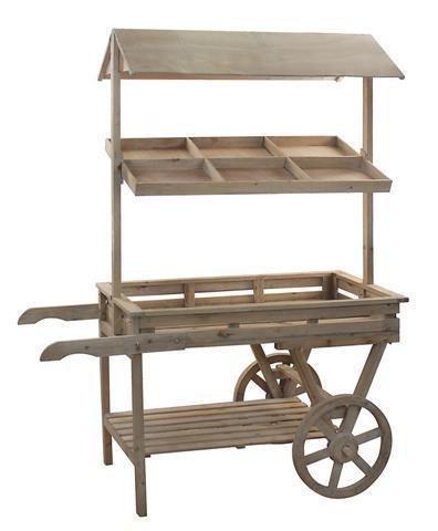 Scaffale / portavasi CARRO, legno naturale, 170x134 cm