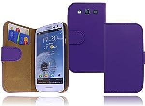 Premium Book Case Tasche für das Samsung Galaxy S3 i9300 / S3 Neo i9301 und S3 LTE i9305 Flip Cover Case Schutzhülle mit EC-/Kreditkartenfächer - idealer Rund Um Schutz in lila / violett