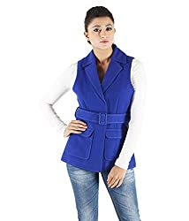 Owncraft Women's Woolen Jacket (Own_620_Blue_Medium)