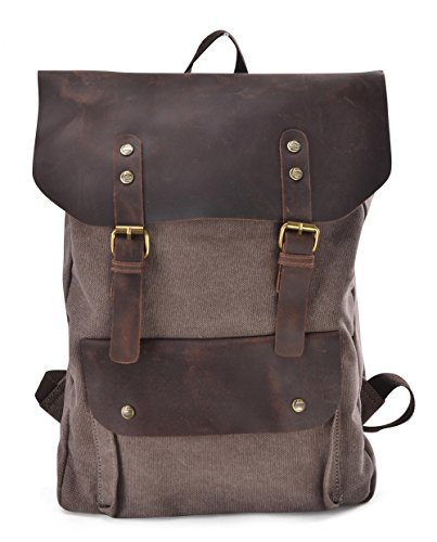 Gootium 30205Cf Canvas Genuine Leather Laptop Bagpack,Coffee