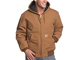 Carhartt Men's Big & Tall Quilted Flannel Lined Duck Active Jacket J140,Brown,XXXX-Large Tall