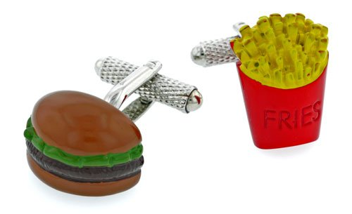 Burger and fries cufflinks with presentation box