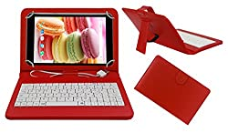 Acm Premium Usb Keyboard Case For Lava Ivory M4 Cover Stand With Free Micro Usb Otg - Red