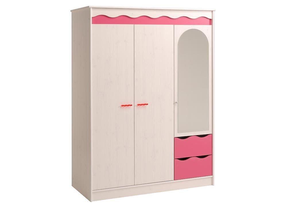 Jumbo-Möbel Kleiderschrank LILOU in Kiefer Weiß und Pink kaufen