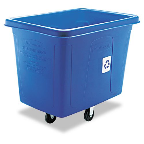 Rubbermaid Commercial Products - Rubbermaid Commercial - Recycling Cube Truck, Rectangular, Polyethylene, 500-lb cap, Blue - Sold As 1 Each - Ideal for waste collection, material collection and laundry handling. - Contains post-consumer recycled resin (PCR) exceeding DPE guidelines. - Metal frame provides durable support. - Conceals loads without reducing capacity. - USDA meat and poultry equipment group listed.