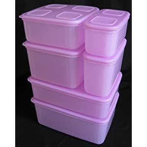 Tupperware Clear Mates Containers Set of 6 Lavender Pink