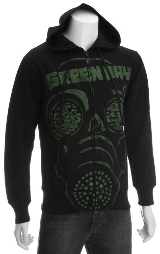 Green Day Gas Mask Men's Zipped Hoodie Black X Large