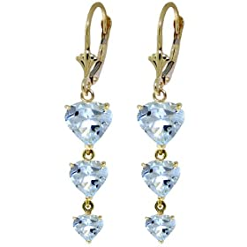 14k Solid Gold dangle Heart Earrings with Natural Aquamarines