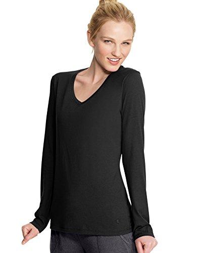 Champion Women's Long Sleeve Jersey Tee, Black, X-Large