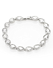 M&S Collection Platinum Plated Pear Diamanté Bracelet