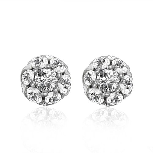 14k White Gold Cluster Diamond Earrings Studs
