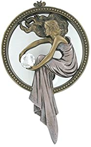 Cold Cast Bronze Lady holding gem Wall hanger mirror plaque Sculpture Ornament Figurine Statue by figurines
