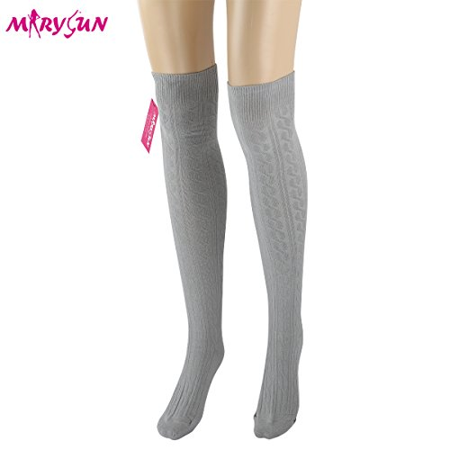MARYSUN Womens Girls Over Knee Leg Warmer Soft Knit ...
