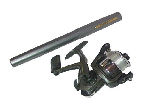 Pen-type portable fishing rod spinning reel set (gray)