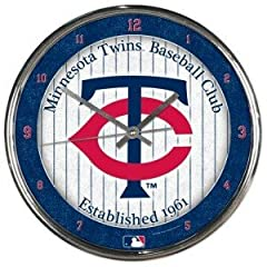 Minnesota Twins Round Chrome Wall Clock by WSB