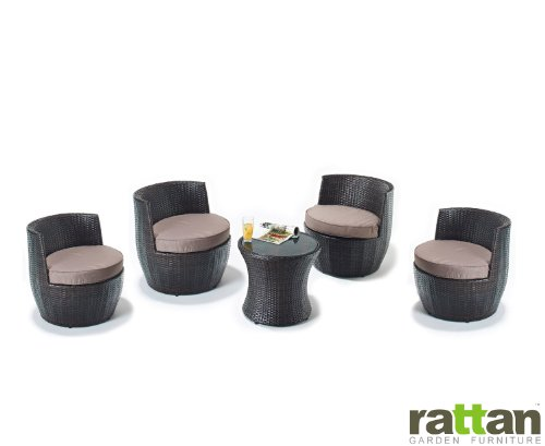 Rattan Garden Furniture Set with 4 Chairs and 2 Tables - Fully Assembled