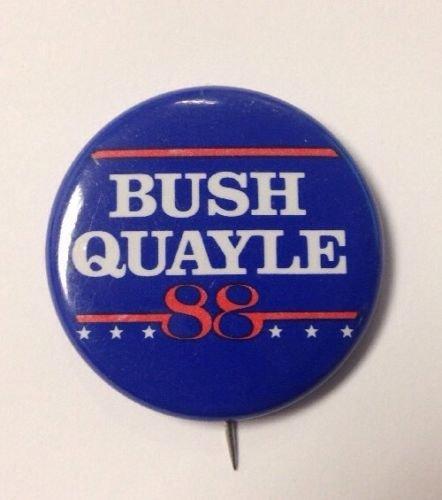 Vintage George H.W. Bush Sr. Quayle 1988 Presidential Campaign Pin Button (Bush Campaign compare prices)