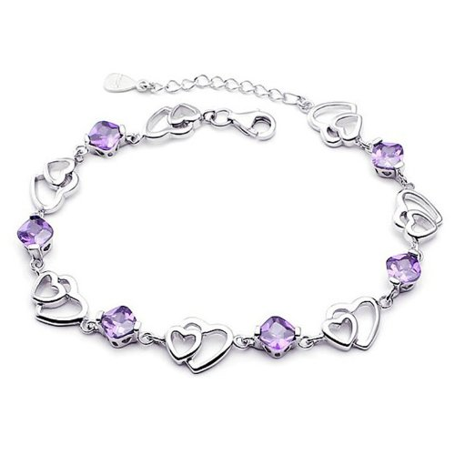 Double Hearts Purple Swarovski Elements Love Bracelet Platinum Plated 925 Sterling Silver Amethyst Crystal Bracelet Adjustable 20cm/8