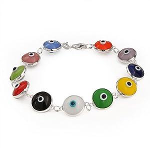 Bling Jewelry 10mm Multi Color Sterling Silver Evil Eye Bracelet
