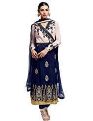 Admyrin Light Pink And Dark Blue Salwar Kameez With Dark Blue Dupatta