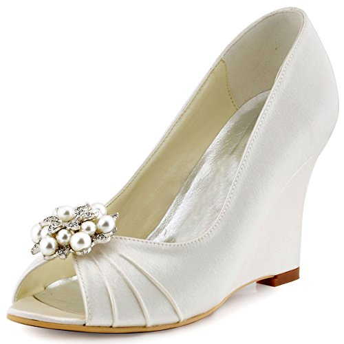 ElegantPark Women`s Wedges Pearls Rhinestones Clips Peep Toe Wedding Party Dress Shoes Ivory US 5