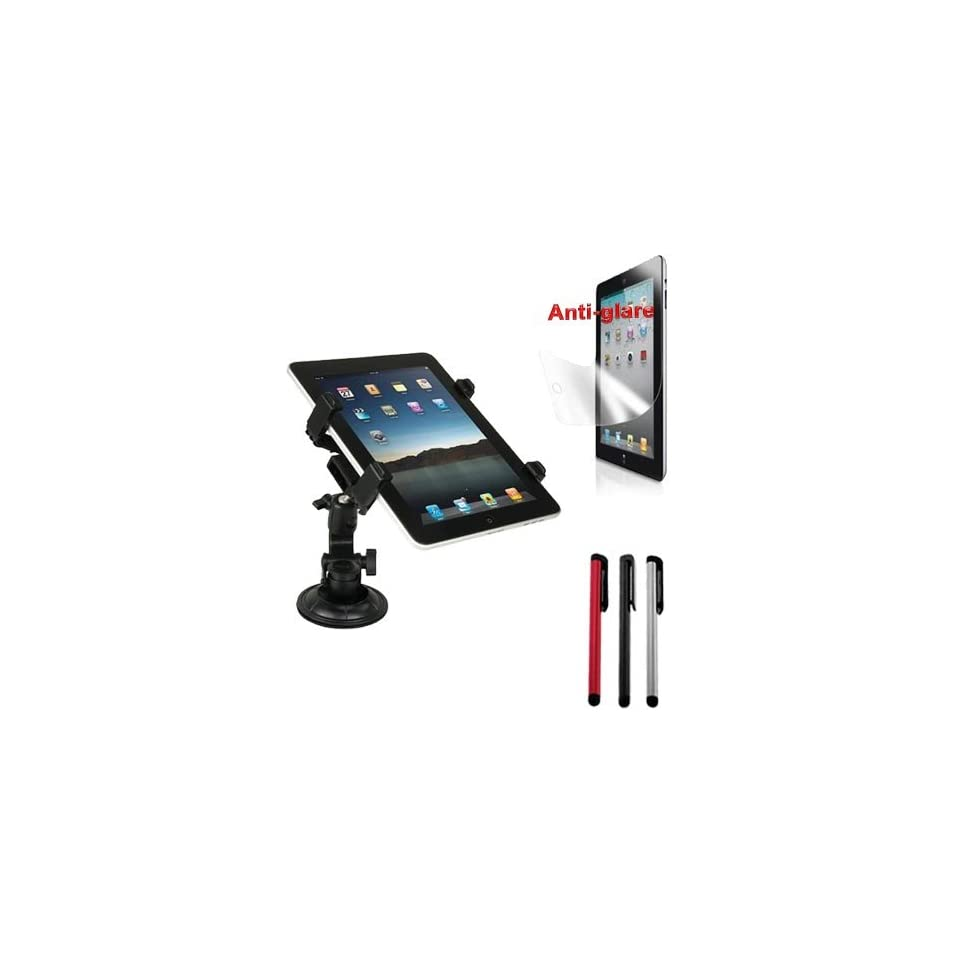 Premium Black Car Holder + Anti Glare Screen Protector + 3 packs of Stylus Pen for Apple Ipad 2nd Generation Tablet