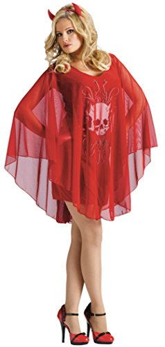 Funworld Womens Skull Poncho Devil Red Halloween Theme Party Fancy Costume
