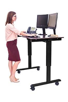 Sit to Stand Desk, Discount Medical Depot's Ergonomic 48 Inch Height Adjustable Mobile Electric Work Station, Black Steel with Dark Walnut Desktop