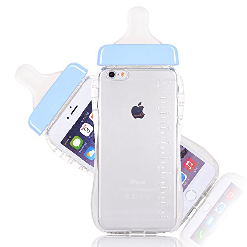 6S Plus Case, CHIBI Cute Baby Pacifier Milk Feeding Bottle Shape Soft TPU Clear Case Back Cover for iPhone 6/6s Plus 5.5inch (Blue) (Feeding Bottle Case compare prices)