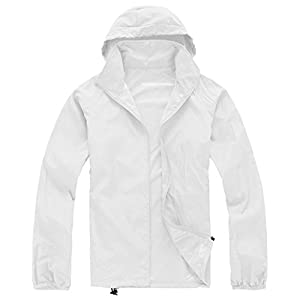 Zeagoo fashion Climbing Waterproof Running Outdoor Hoodie coat Sport Jacket,White,XX-Large