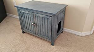 Odor Free Cat Litter Box Cover Cabinet. Right Opening for Cat. Proudly Made in Usa. Wood. No Assembly Needed. Worn Navy